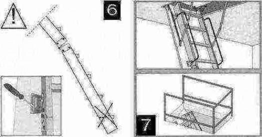 Монтаж чердачной лестницы (железной)