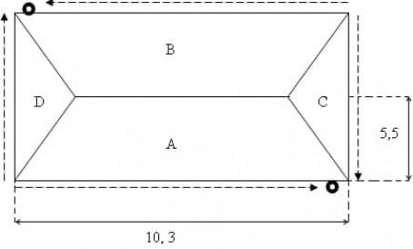 Простая конструкция для водостока четырехскатной крыши