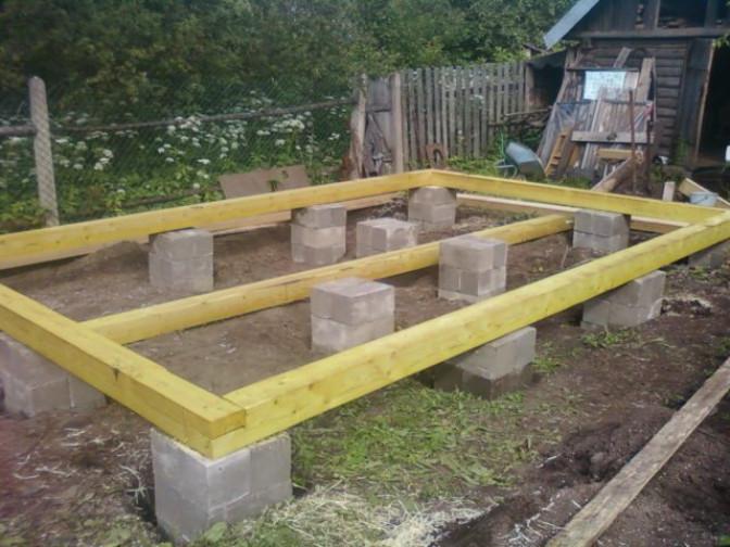 Фундамент под баню из блоков своими руками
