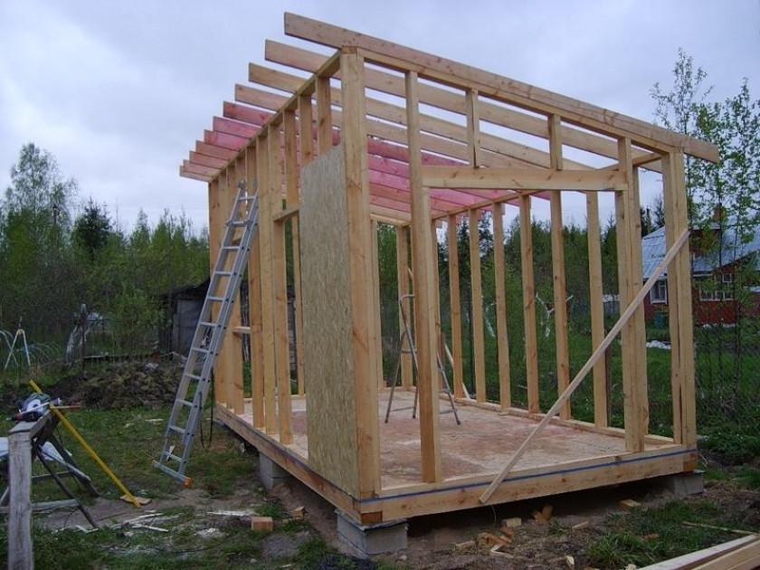 Конструкция каркаса сарая с односкатной крышей