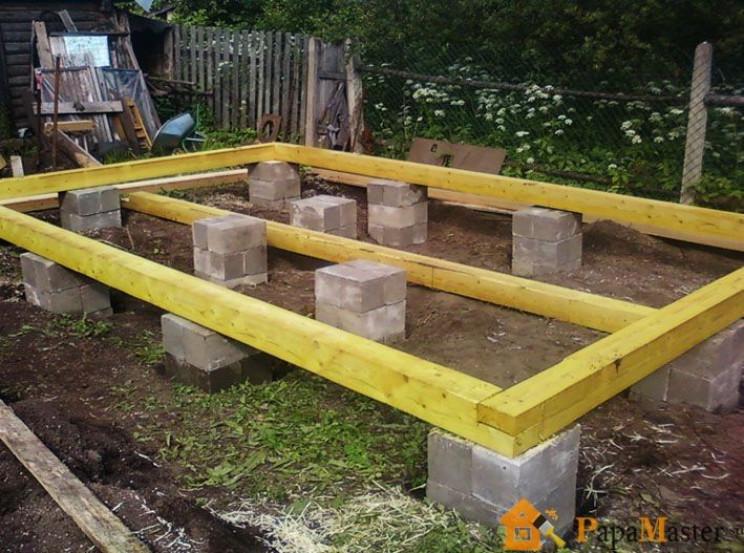 Опорно-столбчатый фундамент, столбчатый фундамент из бетонных блоков