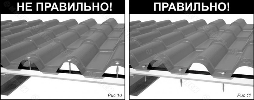 Монтаж листов металлочерепицы