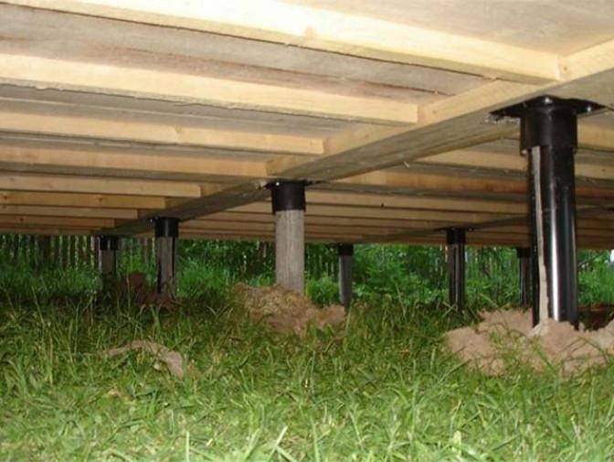 Как делают пол каркасного дома на винтовых опорах
